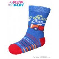 NEW BABY Kojenecké bavlněné ponožky modro-červené retro car