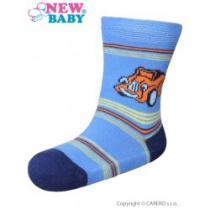 NEW BABY Kojenecké bavlněné ponožky modré s autíčkem