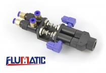 Flumatic Dvousložkový pneumaticky řízený jehlový směšovací ventil 065AB