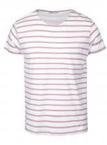 Selected Béžovo-krémové pruhované triko Stroke