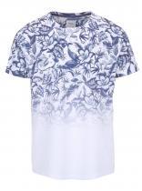Burton Menswear London Bílé triko s modrým květinovým potiskem