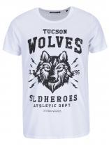 !Solid Bílé triko s potiskem vlka Raju
