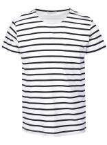 Selected Bílo-černé pruhované triko Stroke