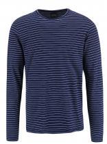 !Solid Bílo-modré pruhované triko s dlouhým rukávem Baldemar