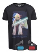 Freegun Černé triko s 3D potiskem Yoda