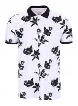 Tailored & Originals Černo-bílé polo triko s potiskem květů Rosebush