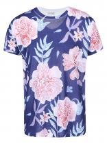 ZOOT Modré triko s růžovými květy Květiny
