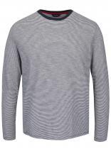 Nautica Modro-krémové pruhované triko s dlouhým rukávem