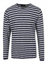 ONLY & SONS Šedo-modré pruhované triko s dlouhým rukávem Hadrian