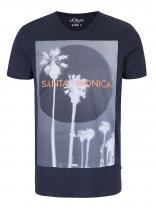 s.Oliver Tmavě modré triko s potiskem Santa Monica