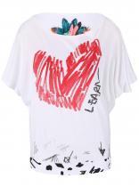 Desigual Bílé tričko se srdcem a netopýřími rukávy Domingo