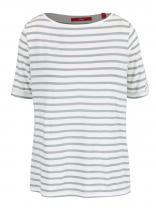 s.Oliver Bílo-zelené pruhované tričko s 3/4 rukávem