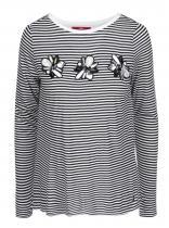 s.Oliver Černo-bílé pruhované tričko s dlouhým rukávem