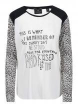Maison Scotch Černo-bílé tričko s dlouhým rukávem s leopardím vzorem