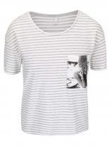 ONLY Krémové tričko s šedými pruhy Daze