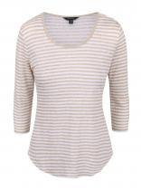 Nautica Krémovo-béžové lněné pruhované tričko s 3/4 rukávem