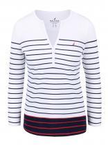 Nautica Modro-bílé pruhované tričko s dlouhým rukávem