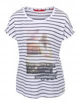 s.Oliver Modro-bílé pruhované tričko s potiskem