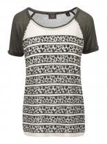 Maison Scotch Olivové vzorované tričko