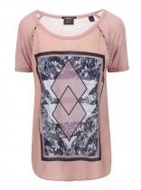 Maison Scotch Růžové tričko s potiskem