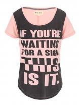 Desires Růžové triko s potiskem Terkild 2