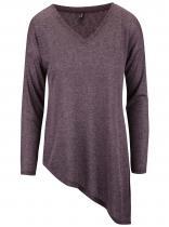 ONLY Vínové asymetrické tričko s dlouhým rukávem Hanna