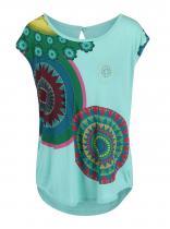 Desigual Zelené tričko s barevnými kruhy Delinne