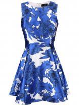 AX Paris Bílo-modré květované