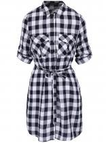 Dorothy Perkins Bílo-modré kostkované košilového typu
