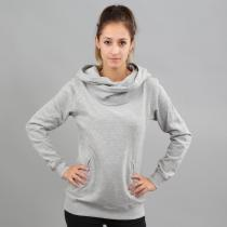 Urban Classics Ladies High Neck Hoody melange šedá