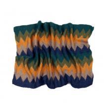 Art of Polo barevný kruhový šál s barevným cik cak vzorem v modrých odstínech