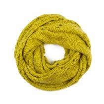 Art of Polo pletená kruhová šála s ažurovým vzorem žlutá