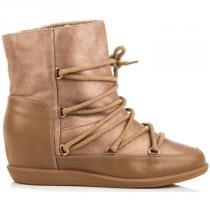 Vices Pohodlné boty s kožíškem Hnědá - dámské