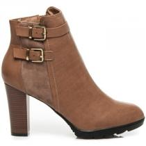 Belle Women Kotníkové boty na sloupkovém podpatku Hnědá - dámské