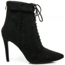 Betler Semišové boty na podpatku Černá - dámské