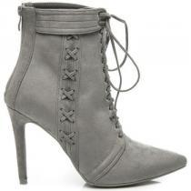 Betler Semišové boty na podpatku Stříbrná - dámské