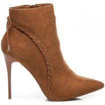 Betler Semišové boty na podpatku Hnědá - dámské