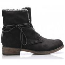Claudia Ghizzani Černé šněrovací boty s kožíškem - dámské