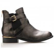 Claudia Ghizzani Černé lesklé boty se zlatým podpatkem - dámské e85e7b7e2d