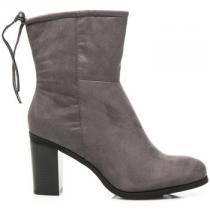 J. Star Vysoké boty s vázáním Stříbrná - dámské