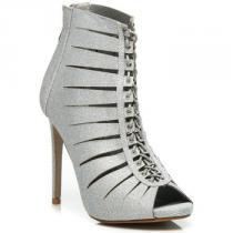 Gogo Brokátové kotníkové boty s vázáním Stříbrná - dámské