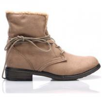 Claudia Ghizzani Hnědé šněrovací boty s kožíškem - dámské