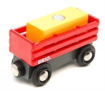 BRIO Červený vagón se žlutým nákladem
