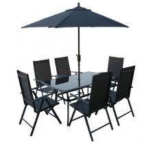 OEM SUNSET stůl+ 6 židlí+ slunečník
