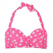 Hot Tuna Halter Bikini Top Pink Polka Dot