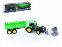 traktor s přívěsem a radlicí 3ks plast 80cm v krabici