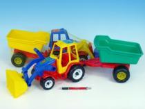 TEDDIES Teddies Traktor s vlekem a radlicí plast 64cm