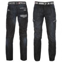 Airwalk Belted Cargo Jeans Dark Wash