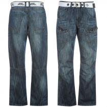 No Fear Belted Cargo Jeans Mid Wash