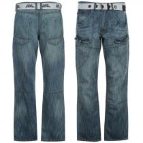 No Fear Belted Cargo Jeans Light Wash